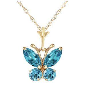 0.6 Carat 14K Gold Butterfly Necklace Blue Topaz
